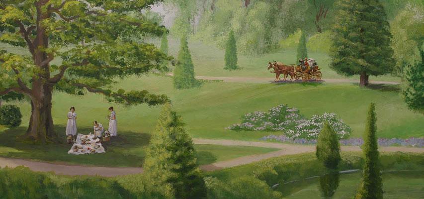 Rechts neben dem Schloss ersteckt sich der Englische Garten.