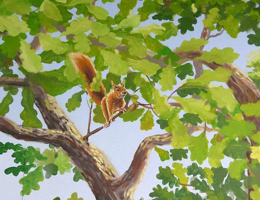 Bildausschnitt der Wandmalerei mit Eichhörnchen.