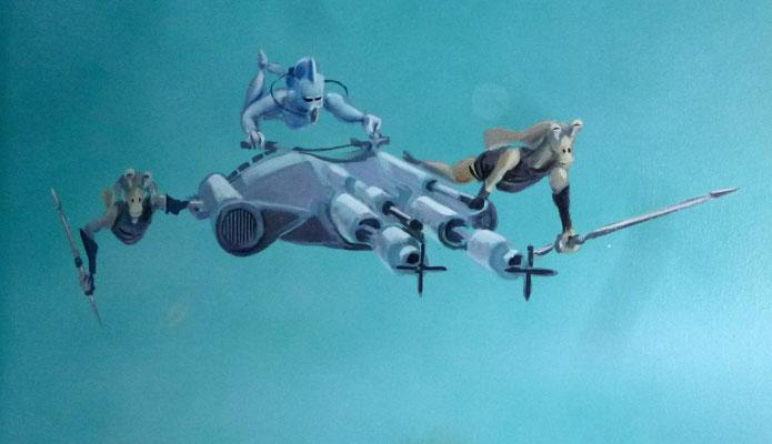 Fremde Welten werden von fremden Wesen bevölkert, die hier mit einem Tauchboot unterwegs sind.