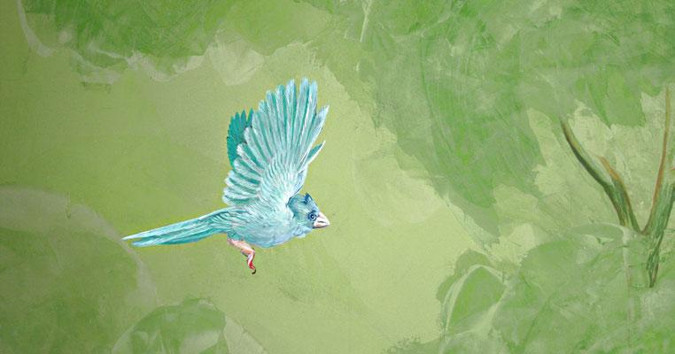 Der realistisch gemalte Vogel ergänzt die abstrakte Stucco-Lustro-Technik.