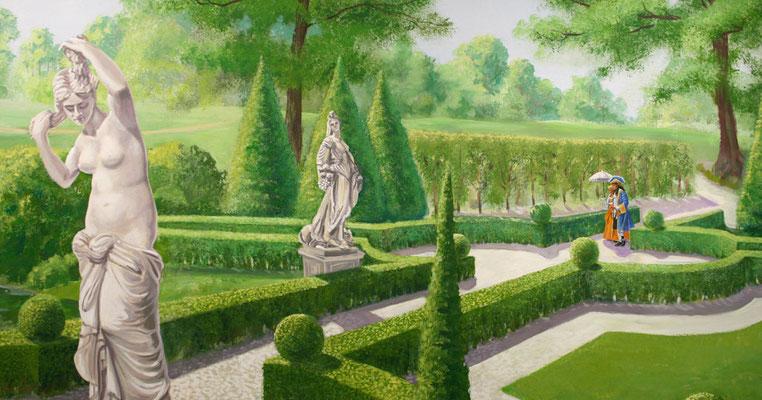 Statuen der Göttinnen Flora und Pomon aus der griechischen Mythologie säumen den Weg.