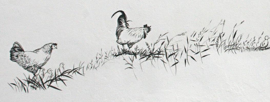 Schwarz-weiß-Zeichnungen des Federviehs...