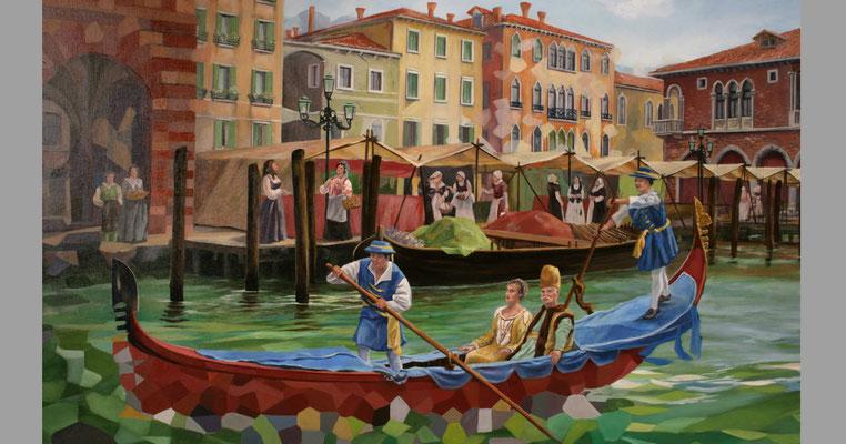 """Gemälde der """"Regata Storica""""(historische Regatta) eine Schiffsparade mit Schiffe aus dem 16. Jahrhundert . Fürstenpaar in ihrer Gondel."""
