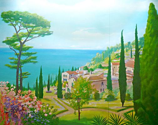 Wandmalerei einer toscanischen Landschaft.