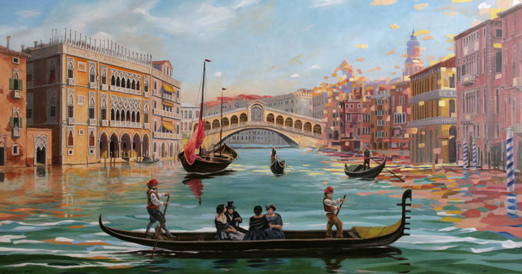 Gemälde für die Aida Prima. Historische Darstellung einer Gondelfahrt vor der Rialtobrücke
