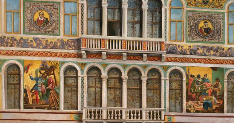 """Der Palazzo Borgheria aus dem Bilderzyklus """"Venezianische Impressionen"""". Ein Gemälde für den Speiseraum """"CasaNova"""" auf der Aida"""