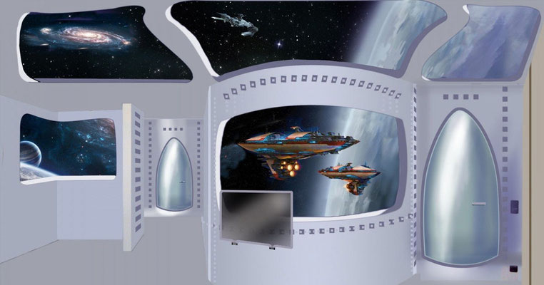 Skizzenhafter Entwurf der Komplettbemalung. Blick aus dem Raumschiff auf die Galaxien.