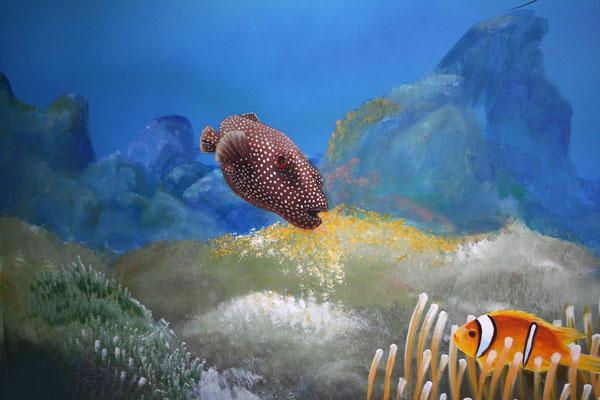 Wandmalerei –Detail;Tropische Unterwasserwelt mit Zackenbarsch