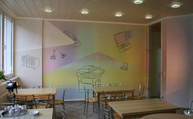 Wandmalerei in der Kantine eines Bürobedarfs Zulieferers.