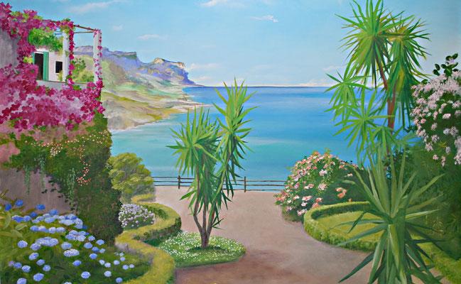 Wandgemälde mit Bucht auf der Insel Ischia.