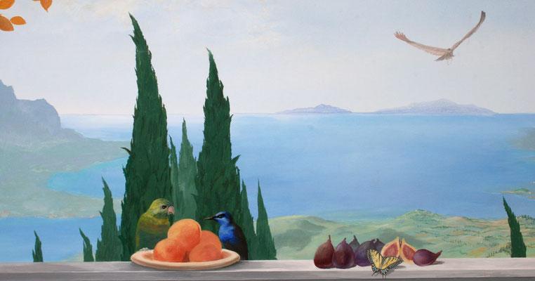 Vögel und Schmetterling in harmonischer Gemeinschaft.