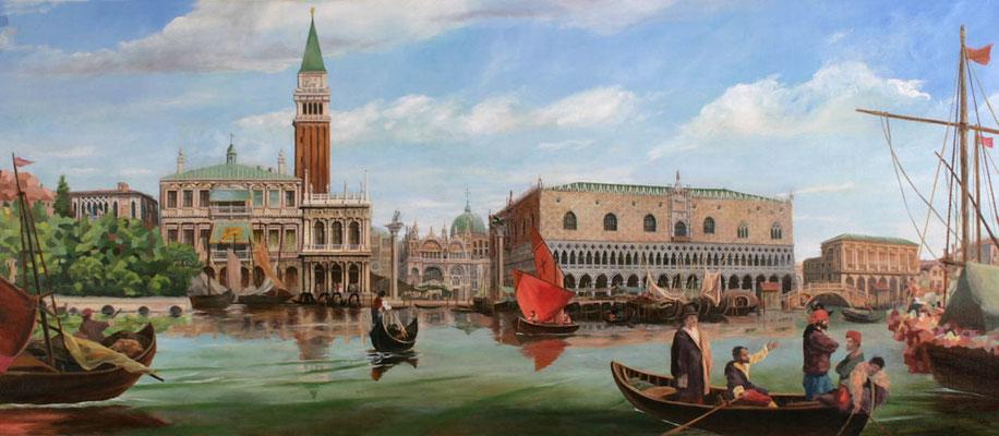 Wandgemälde aus der Reihe »Venedig« mit St.-Markus-Platz, Dogenpalast, Schiffen und Gondeln.