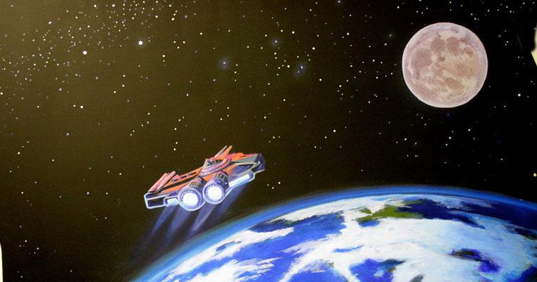 """Wandmalerei für eine Zahnarztpraxis """"Das Röntgenzimmer""""  Der Röntgenraum wurde als Kommandobrücke eines Raumschiffes gestaltet.Ein Raumgleiter in der Erdumlaufbahn."""