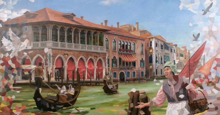 """Wandmalerei im Speisesaal """"CasaNova""""mit der Darstellung der Fischhalle am Carnel Grande"""