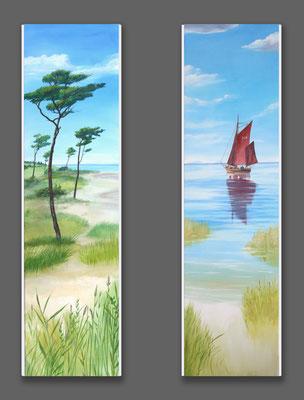Heizkörper-Bemalung: Strandszene mit Segelboot.