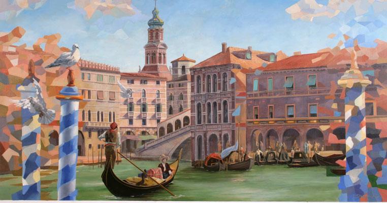 """Wandmalerei für das Kreuzfahrtschiff """"Aida Prima"""". Im Vordergrund fährt ein Gondolieri aus einem Seitenarm des Carnel Grande zur Rialtobrücke."""