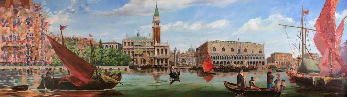 Gemälde Venedig. Panoramabild vom St.Markus Platz und dem Dogenpalast mit Schiffen und Gondeln. Wandfüllende Malerei für einen Speisesaal der Aida Prima.