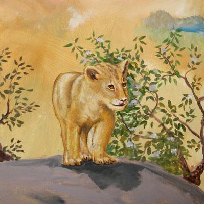 Detail des Wandbilds Löwen in der Steppe.