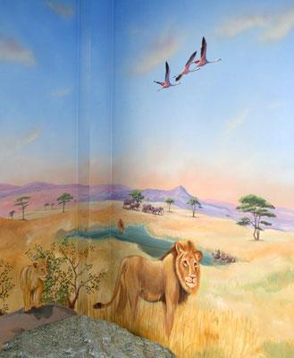 Wandmalerei Löwen in der Steppe für's Kinderzimmer.