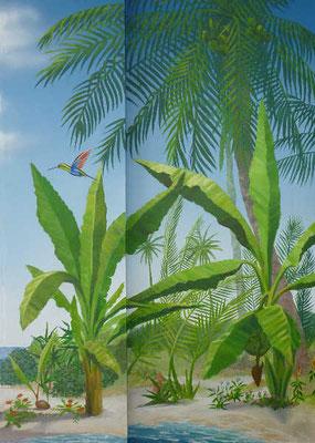 Tropische Vegetation mit wilden Bananenstauden