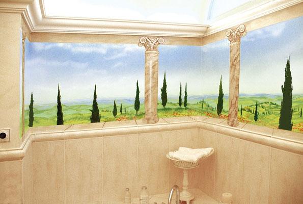 Illusionsmalerei einer Aussicht mit imitierten Marmorsäulen.