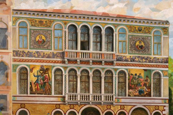 """Zweite Malversion des Palazzo Borgheria aus dem Bilderzyklus """"Venezianische Impressionen""""."""