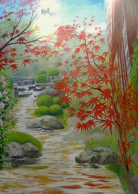 Der Bachlauf im Japanischen Garten beginnt oben an der Quelle des goldenen Baches.