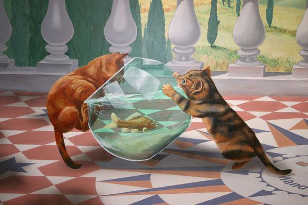 Bildausschnitt zweier Katzen, die lebhaftes Interesse an einem Goldfisch zeigen.