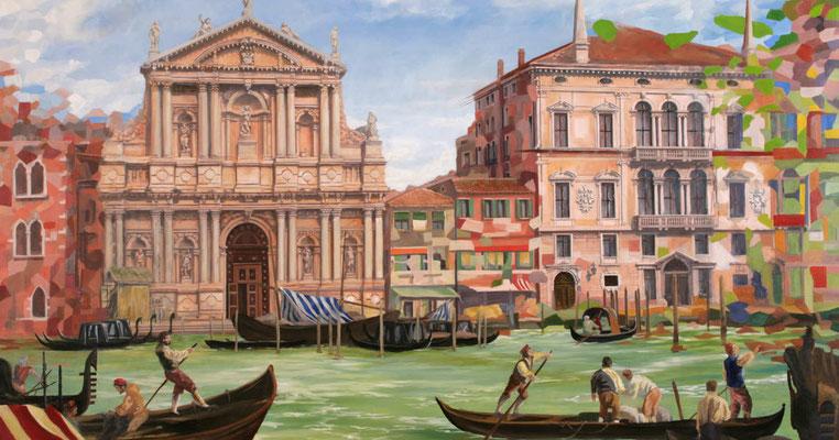 Malerei Venedig; das Leben in Venedig im 18.Jahrhundert. Geschäftiges Treiben vor einer der zahlreichen Kirchen und einem Palazzo.