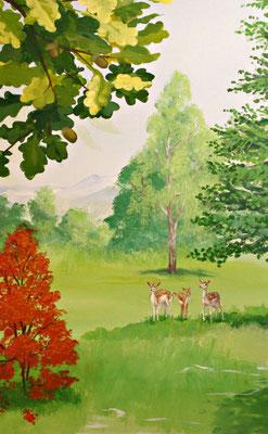 Ausschnitt aus den Natur-Wandbild mit Rehen.