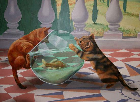 Detail der mediterranen Landschaft: Katzen und Goldfisch.
