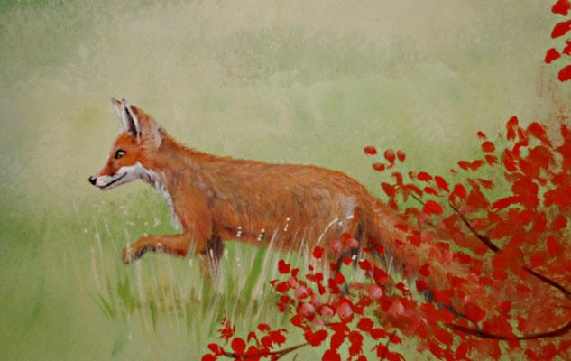Bildausschnitt der Landschaft mit Fuchs auf der Pirsch.