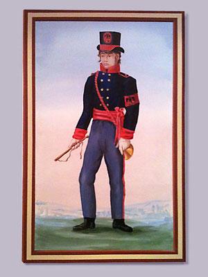 Wandgemälde: Postillion in der historischen, blauen Uniform.