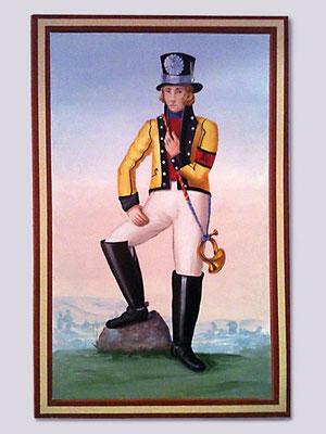 Wandgemälde: Postillion in der historischen, gelben Uniform.