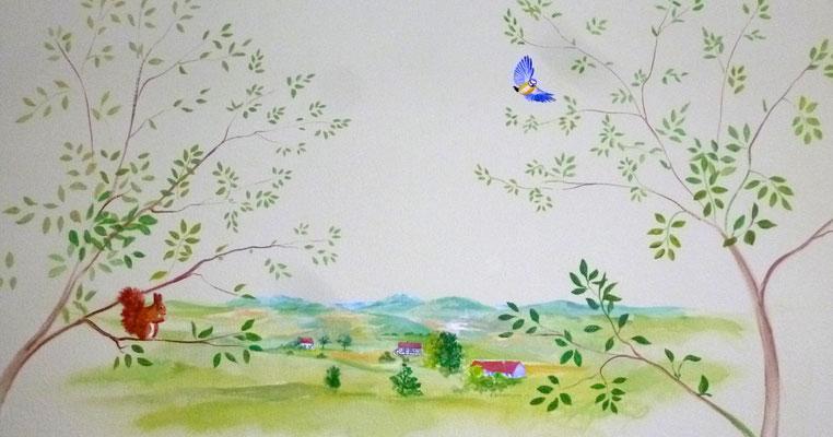 Wandbild mit einem Motiv aus dem Bergischen Land.