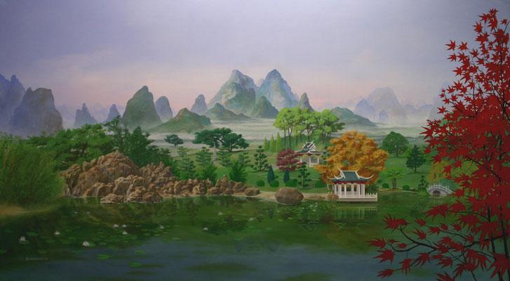 Das Wandbild einer japanischen Landschaft.