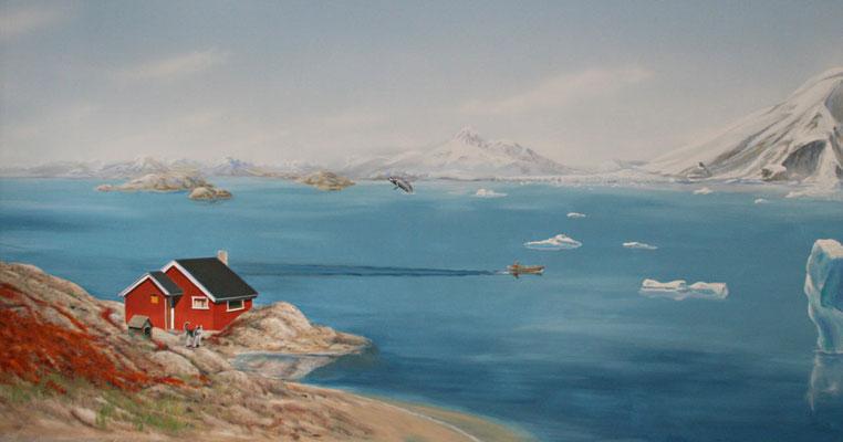 An der Fischerhütte vorbei schweift der Blick auf eine weite Bucht im hohen Norden.