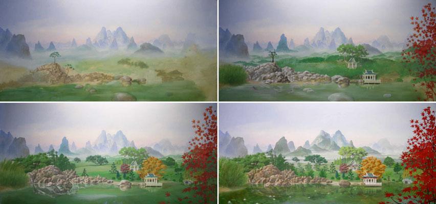 Arbeitsschritte bei der Erstellung des Wandgemäldes der japanischen Landschaft.
