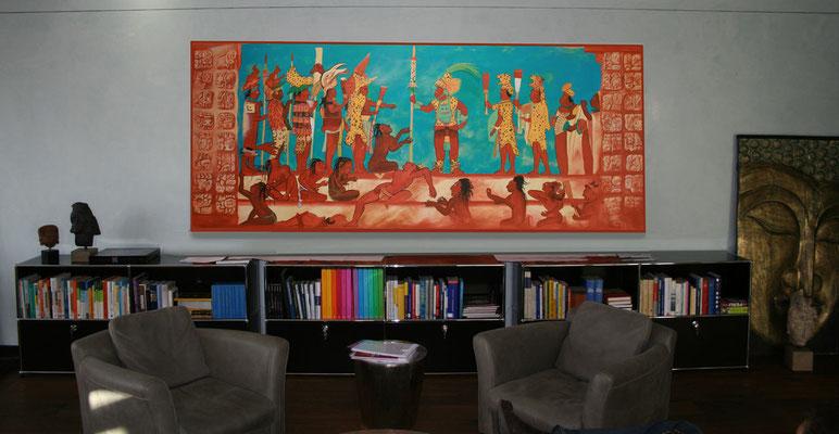 Auf Kundenwunsch wurde eine originalgetreue Abbildung einer Malerei der Mayakunst hergestellt.