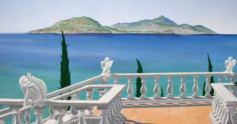 Detaildarstellung der Malerei auf der Terrassenwand mit Meerblick auf die Insel Ischia.