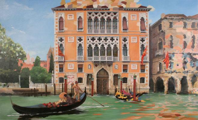 Malerei der venezianischen Paläste, Palazzo mit Gondolerie; Besucher Venedigs bei einer Gondelfahrt im ausgehenden 19. Jahrhundert