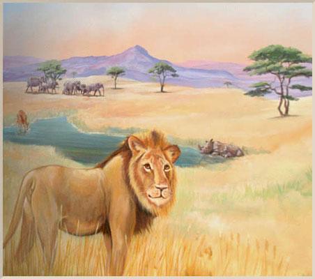 Wandmalerei in einer Zahnarztpraxis. Savanne mit Löwen