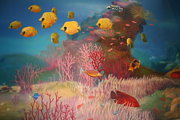 Wandmalerei einer maritimen Landschaft mit bunte Fischwelt; Juwel-Zackenbarsch und Falterfischen