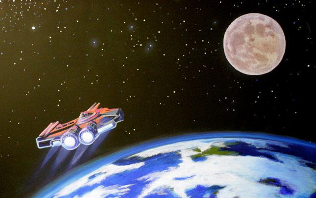 Kinderzimmer Wandmalerei mit Raumschiff und Erde bei normaler Beleuchtung