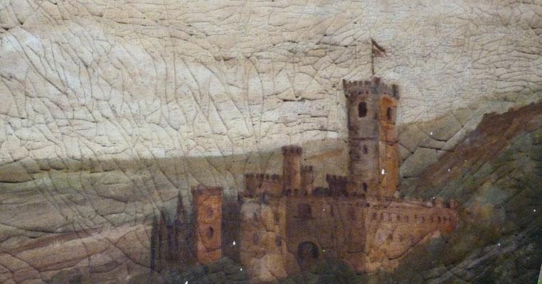 Der Zustand des zu restaurierenden Gemäldes in einer Detailansicht.