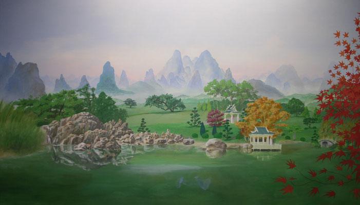 Eine japanische Landschaft zur Kontemplation in der Natur.
