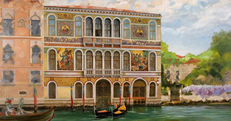 """Zweite Version des Palazzo Borgheria aus dem Bilderzyklus """"Venezianische Impressionen"""". Speisesaal Casanova auf der AidaPrima"""
