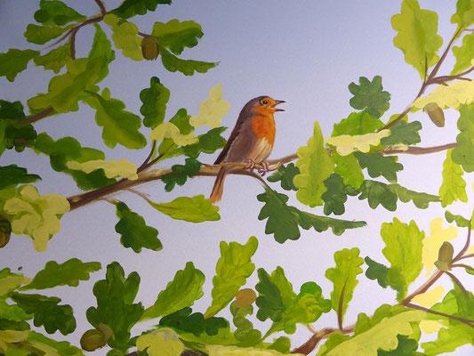 Bildausschnitt der Wandmalerei mit Rotkehlchen auf einem Eichenzweig.