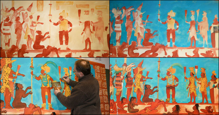 Arbeitsschritte beim Malen des Maya-Bilds.
