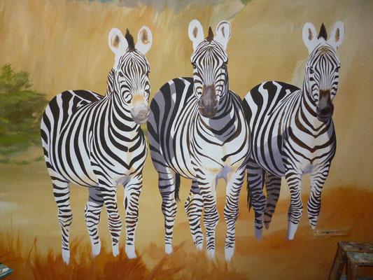 Detaiansicht der Zebras.